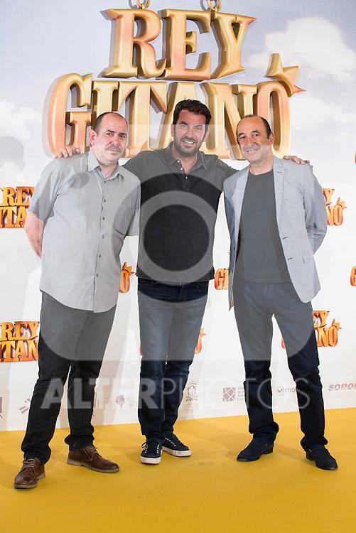 """Actors Karra Elejalde, Arturo Valls and Manuel Manquiña pose during """"Rey Gitano"""" film presentation at Palafox Cinemas in Madrid, Spain. July 09, 2015.<br />  (ALTERPHOTOS/BorjaB.Hojas)"""