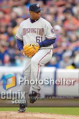 3 April 2006: Livan Hernandez, pitcher for the Washington Nationals, on the mound during Opening Day play against the New York Mets at Shea Stadium, in Flushing, New York. The Mets defeated the Nationals 3-2 to lead off the 2006 MLB season...Mandatory Photo Credit: Ed Wolfstein Photo..
