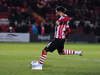 Lincoln City's Bruno Andrade scores from the penalty spot<br /> <br /> Photographer Andrew Vaughan/CameraSport<br /> <br /> The EFL Checkatrade Trophy Northern Group H - Lincoln City v Wolverhampton Wanderers U21 - Tuesday 6th November 2018 - Sincil Bank - Lincoln<br />  <br /> World Copyright © 2018 CameraSport. All rights reserved. 43 Linden Ave. Countesthorpe. Leicester. England. LE8 5PG - Tel: +44 (0) 116 277 4147 - admin@camerasport.com - www.camerasport.com