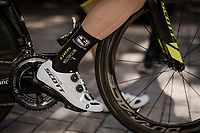 Simon Yates' (GBR/Mitchelton-Scott) 'tagged' racing shoes<br /> <br /> race preparations: TT prologue recon ahead of the 102nd Giro d'Italia 2019<br /> <br /> ©kramon