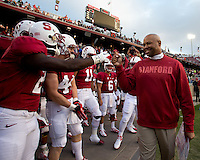 STANFORD, CA - August 31, 2012: Coach David Shaw before Stanford's game vs San Jose State. Stanford won 20-17.