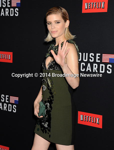 Pictured: Kate Mara<br /> Mandatory Credit &copy; Gilbert Flores/Broadimage<br /> Netflex's &quot;House of Cards&quot; Season 2 Special Screening<br /> <br /> 2/13/14, Hollywood, California, United States of America<br /> <br /> Broadimage Newswire<br /> Los Angeles 1+  (310) 301-1027<br /> New York      1+  (646) 827-9134<br /> sales@broadimage.com<br /> http://www.broadimage.com
