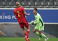 Belgian goalkeeper Mile Svilar (1) after a save during a soccer game between the national teams Under21 Youth teams of Belgium and Germany on the 5th matday in group 9 for the qualification for the Under 21 EURO 2021 , on tuesday 8 th of September 2020  in Leuven , Belgium . PHOTO SPORTPIX.BE | SPP | SEVIL OKTEM