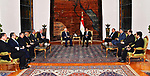 Egyptian President Abdel-Fattah al-Sisi (R) meets with Palestinian President Mahmoud Abbas in Cairo, Egypt, on Dec. 11, 2017. Egyptian President Abdel-Fattah al-Sisi stressed on Monday his country's firm stance on the necessity of preserving the legal and historical status of Jerusalem in a meeting with Palestinian President Mahmoud Abbas in Cairo. Photo by Egyptian President Office