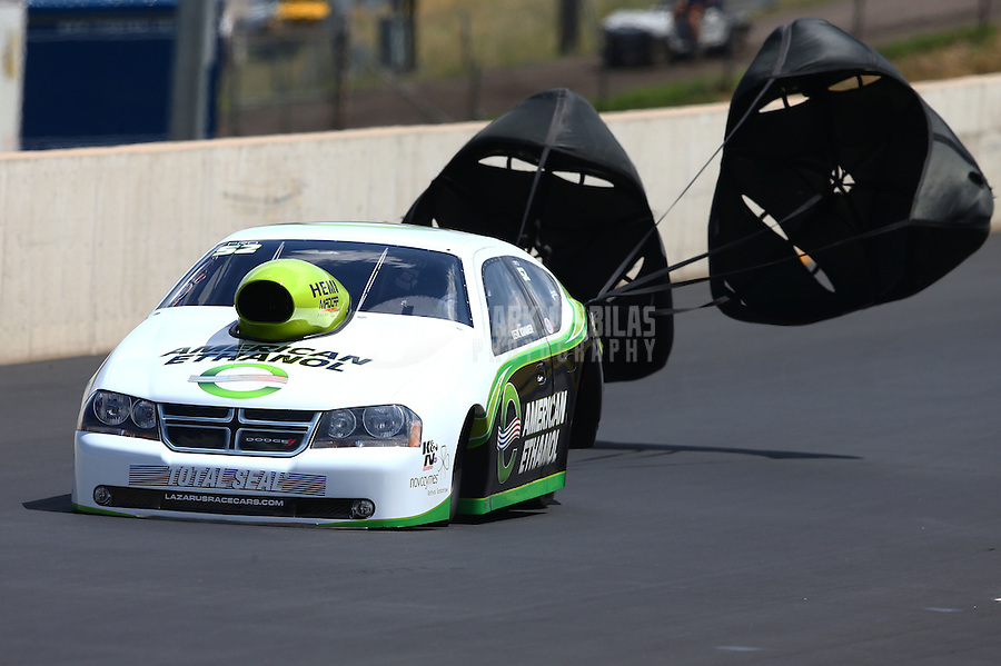 Jul. 20, 2013; Morrison, CO, USA: NHRA pro stock driver Deric Kramer during qualifying for the Mile High Nationals at Bandimere Speedway. Mandatory Credit: Mark J. Rebilas-