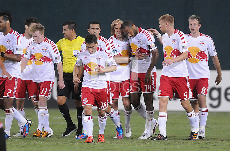 New York Red Bulls midfielder Joel Lindpere (20) celebrates his score with teammates. The New York Red Bulls tied D.C. United 2-2 at RFK Stadium, Wednesday August 29, 2012.