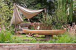 The IBTC Lowestoft: Broadland Boatbuilder's Garden. Designed by: Gary Breeze. Sponsored by: The International Boatbuilding Training College, Lowestoft. RHS Chelsea Flower Show 2017. Stand no. Artisan Garden 565