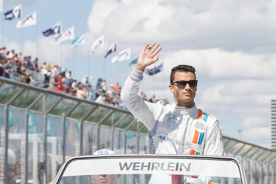 March 20, 2016: Pascal Wehrlein (GER) #94 from the Manor Racing at the drivers' parade prior to the 2016 Australian Formula One Grand Prix at Albert Park, Melbourne, Australia. Photo Sydney Low
