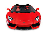 Red 2014 Lamborghini Aventador LP 700-4 Roadster supercar front view. Isolated sports car on white background with clipping path.