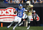 Quarterback Stephen Johnson #15 of the Kentucky Wildcats runs up field during the first half of the TaxSlayer Bowl against the Georgia Tech Yellow Jackets at EverBank Field on Saturday, December 31, 2016 in Jacksonville, Florida. Photo by Michael Reaves | Staff.
