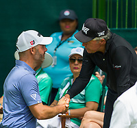 Paul Waring (ENG) and Gary Player (RSA) on the 1st tee during the first round at the Nedbank Golf Challenge hosted by Gary Player,  Gary Player country Club, Sun City, Rustenburg, South Africa. 14/11/2019 <br /> Picture: Golffile | Tyrone Winfield<br /> <br /> <br /> All photo usage must carry mandatory copyright credit (© Golffile | Tyrone Winfield)