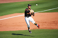 Maryland Terrapins third baseman AJ Lee (6) throws to first base during a game against the Alabama State Hornets on February 19, 2017 at Spectrum Field in Clearwater, Florida.  Maryland defeated Alabama State 9-7.  (Mike Janes/Four Seam Images)