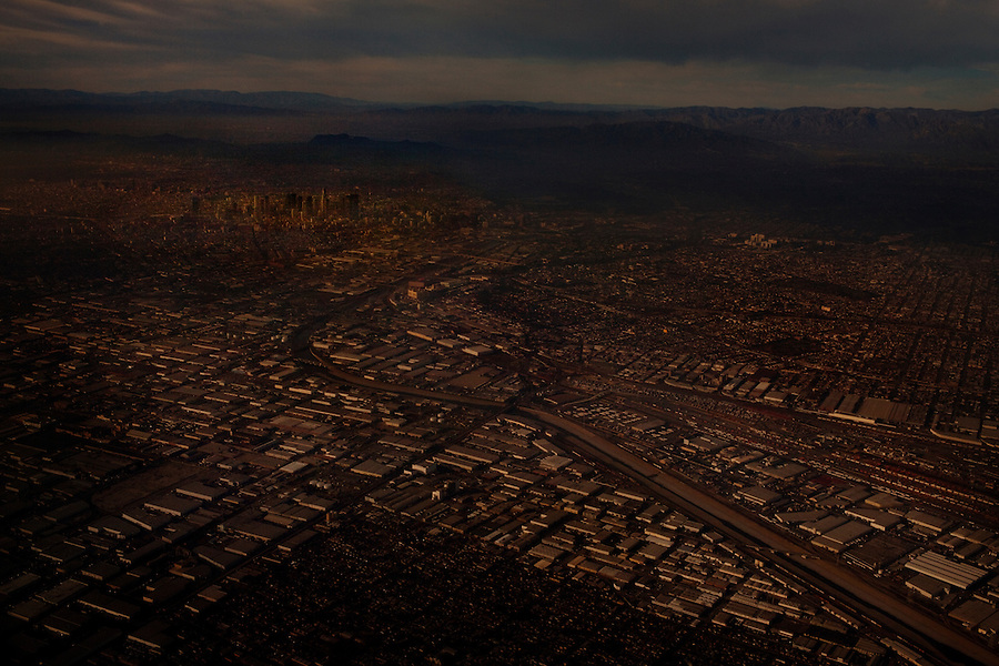 December 29, 2011 - Views of Downtown Los Angeles from an airplane flight from Houston to Los Angeles.
