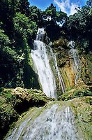 Beautiful cascades of Mele Falls surrounded by lush foliage, Efate Island, Vanuatu.