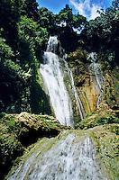 Beautiful cascades of Mele Falls surrounded by lush foliage, Efate Island, Vanuatu.