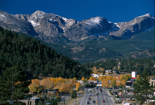 Mountain peaks above EP/ gateway resort town to Rocky Mtn NP/ fall color/ Rocky Mtns/ CO
