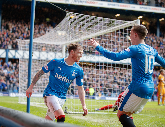 Joe Garner scores for Rangers and celebrates