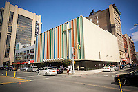 The Greater Refuge Temple of the Church of our Lord Jesus Christ of the Apostolic Faith in Harlem in New York on Sunday, August 9, 2015. The temple, on Seventh Avenue, was originally the Harlem Casino and was built around 1890, then a Loew's movie theater from 1910. The church, founded in 1919 has owned the location since 1945. Extensive renovations were done in 1966 in the architectural style of retardataire Hollywood. (© Richard B. Levine)