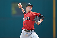 Indianapolis Indians starting pitcher J.T. Brubaker (34) in action against the Columbus Clippers at Huntington Park on June 17, 2018 in Columbus, Ohio. The Indians defeated the Clippers 6-3.  (Brian Westerholt/Four Seam Images)