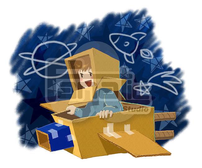 Illustration of boy flying cardboard plane over white background