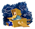Illustration of boy flying cardboard plane over white background