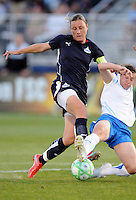 Washington Freedom forward Abby Wambach (20) struggles with Boston Breakers defender Amy LePeilbet .  Boston Breakers defeated Washington Freedom 3-1  at The Maryland SoccerPlex, Saturday April 18, 2009.