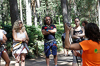 El musico, cantante y compositor Teo Cardalda y su mujer la cantante Maria Monsonis, componentes del grupo musical Complices, durante una vista junto a familiares y amigos al Parque Aventura Amazonia de Cercedilla, Madrid.2 de Agosto de 2012..(Alterphotos/Acero) /NortePhoto.com<br />