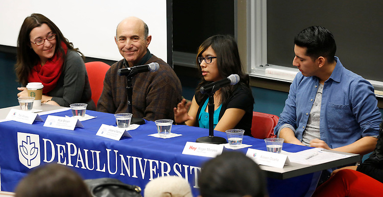 DePaul student Jessenia Martinez (second from right) talks about her journalism career path during a panel discussion as DePaul University's College of Communication hosted the Fourth Annual Pasos al Futuro Latino Journalism Symposium Thursday, Jan. 30, 2014. More than 100 Chicagoland students heard from professional journalists and DePaul professors about careers in journalism during the day-long workshop for Latinos. The event was also sponsored by Latino Media & Communication and Global Initiatives. Also participating in the discussion were (left to right) Teri Arvesu, Univision News Director, Rick Brown, professor at DePaul's College of Communication,  Roger Morales '12 of Hoy Chicago (DePaul alum), and Aileen Ocana, University Radio (not shown) . (DePaul University / Jamie Moncrief)