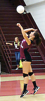 Photo by Randy Moll<br /> Hannah Boss, Gentry sophomore, serves during play against Shiloh Christian at Gentry High School on Thursday, Sept. 10, 2015.