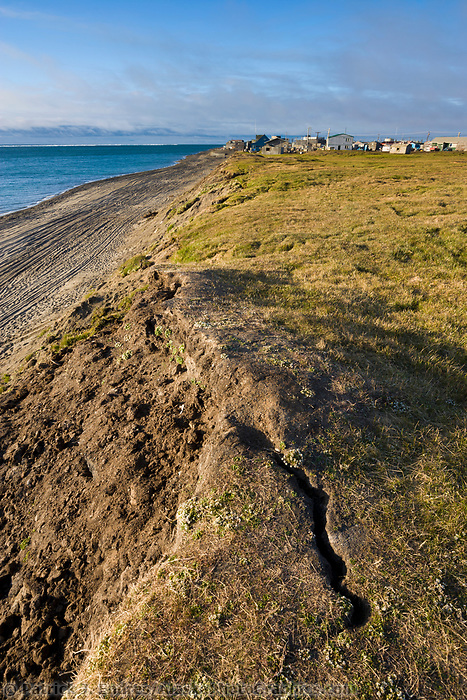 Coastal erosion along the shores of the Arctic ocean in Utqiagvik (Barrow), Alaska.