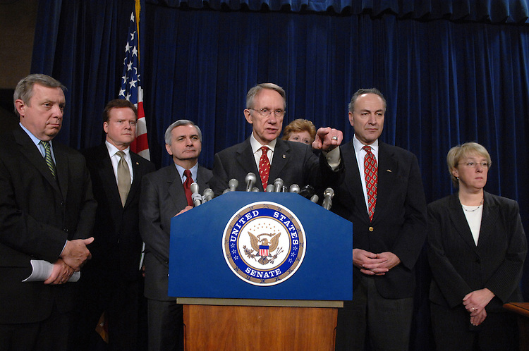 From left, Sens. Dick Durbin, D-Ill., Jim Webb, D-Va., Jack Reed, D-R.I., Majority Leader Harry Reid, D-Nev., Debbie Stabenow, D-Mich., Chuck Schumer, D-N.Y., Patty Murray, D-Wash., conduct a news conference following the Senate's vote on whether to move forward with a debate on the President's plan to increase troop levels in Iraq.  Cloture failed 56 to 34 against.  60 votes were needed for cloture.