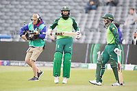 Hashim Amla  (South Africa) and Quinton de Kock  (South Africa) enter the field of play to start the South Africa innings during South Africa vs West Indies, ICC World Cup Warm-Up Match Cricket at the Bristol County Ground on 26th May 2019