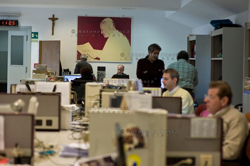 La redazione dell'Osservatore Romano in Vaticano