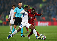 5th November 2019; Anfield, Liverpool, Merseyside, England; UEFA Champions League Football, Liverpool versus Genk; Carlos Cuesta of KRC Genk and Naby Keita of Liverpool compete for the ball  - Editorial Use