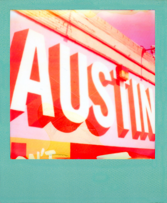 "Polaroid instant film picture of ""Austin"" mural in downtown Austin, Texas - Stock Image."