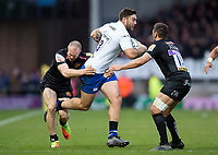 Matt Banahan of Bath Rugby takes on the Exeter Chiefs defence. Aviva Premiership match, between Exeter Chiefs and Bath Rugby on December 2, 2017 at Sandy Park in Exeter, England. Photo by: Patrick Khachfe / Onside Images
