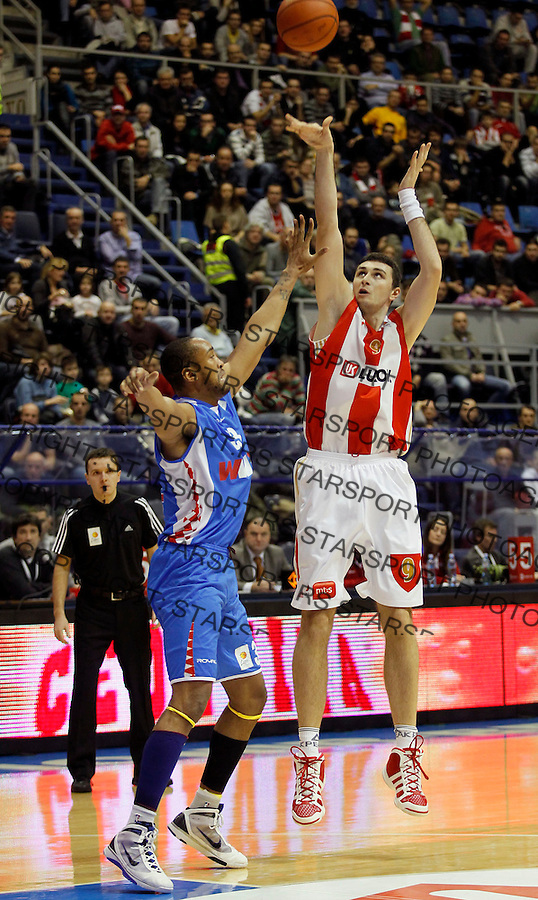 Kosarka, ABA League, season 2010/2011.Crvena Zvezda Vs. Siroki (Siroki Brijeg).Mile Ilic, right and Coleman Collins.Belgrade, 16.12.2011..foto: Srdjan Stevanovic/Starsportphoto.com ©