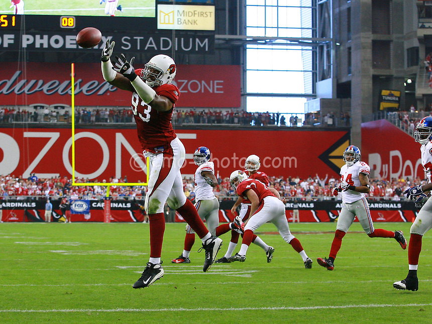 Nov 23, 2008; Glendale, AZ, USA; Arizona Cardinals defensive end Calais Campbell (93) tries to catch a pass during a botched extra point attempt in the second quarter of a game against the New York Giants at University of Phoenix Stadium.  Mandatory Credit: Chris Morrison-US PRESSWIRE