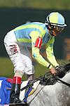 April 11, 2015: Jockey John Velazquez after winning the Oaklawn Hanicap at Oaklawn Park in Hot Springs, AR. Justin Manning/ESW/CSM