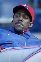 Vladimir Guerrero of the Montreal Expos before a 2002 MLB season game  against the Los Angeles Dodgers at Dodger Stadium, in Los Angeles, California. (Larry Goren/Four Seam Images)
