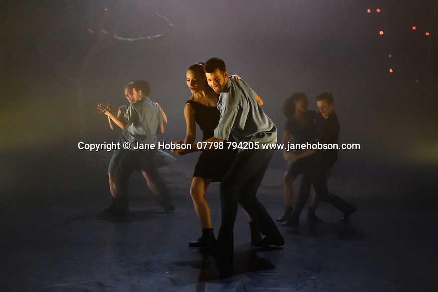 """London, UK. 27.02.20. Mark Bruce Company presents """"Return to Heaven"""", at Wilton's Music Hall. Written and choreographed by Mark Bruce, with costume design by Dorothee Brodruck, lighting design by Guy Hoare, and set design by Phil Eddolls. The dancers are: Jordi Calpe-Serrats, Eleanor Duval, Carina Howard, Dane Hurst, Sharol Mackenzie, Christopher Thomas. Photograph © Jane Hobson."""