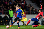 Viktor Fischer (L) of FC Copenhague is tackled by Sergio Gonzalez Testan of Atletico de Madrid  during the UEFA Europa League 2017-18 Round of 32 (2nd leg) match between Atletico de Madrid and FC Copenhague at Wanda Metropolitano  on February 22 2018 in Madrid, Spain. Photo by Diego Souto / Power Sport Images