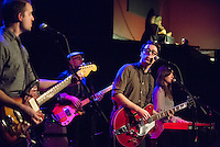 Jeremy Messersmith and his band (L-R: Peter Sieve [guitar], Ian Allison [bass], Jeremy Messersmith, Sarah Elhardt Perbix [keyboard]) perform at the High Noon Saloon in Madison, Wisconsin on Thursday, February 13, 2014
