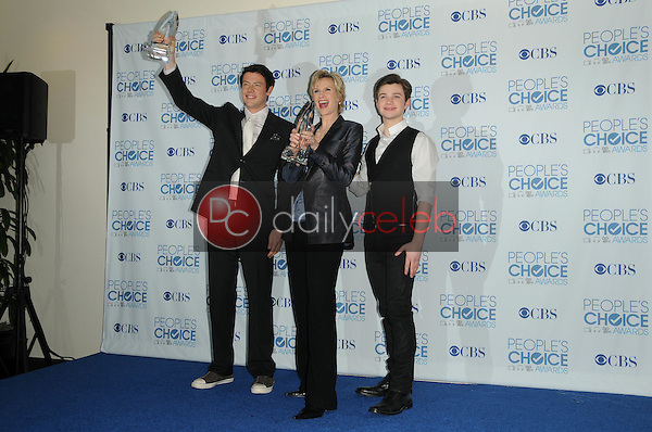 Cory Monteith, Jane Lynch and Chris Colfer<br /> at the 2011 People's Choice Awards - Press Room, Nokia Theatre, Los Angeles, CA. 01-05-11<br /> David Edwards/DailyCeleb.com 818-249-4998