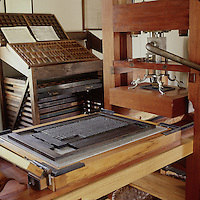 Printer's type set on reproduction of Ramage hand press designed about 1820 in Philadelphia, Pennsylvania. When possible, please credit - Photo by Bill Parsons Collection of John C. Horn Mira.. John C. Horn Collection of Antique Printing Presses. Arkans