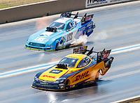Jul 23, 2017; Morrison, CO, USA; NHRA funny car driver J.R. Todd (near) alongside Tim Wilkerson during the Mile High Nationals at Bandimere Speedway. Mandatory Credit: Mark J. Rebilas-USA TODAY Sports