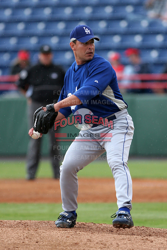 Los Angeles Dodgers Rudy Seanez during a Grapefruit League Spring Training game at Spacecoast Stadium on March 19, 2007 in Melbourne, Florida.  (Mike Janes/Four Seam Images)