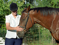 Chinook Pass (1979 - 2000, by Native Born - Yu Turn) - Eclipse Award champion sprinter, brilliantly fast horse, Washington's Horse of the Century, with caregiver Jill Hallin in Washington, 2001.