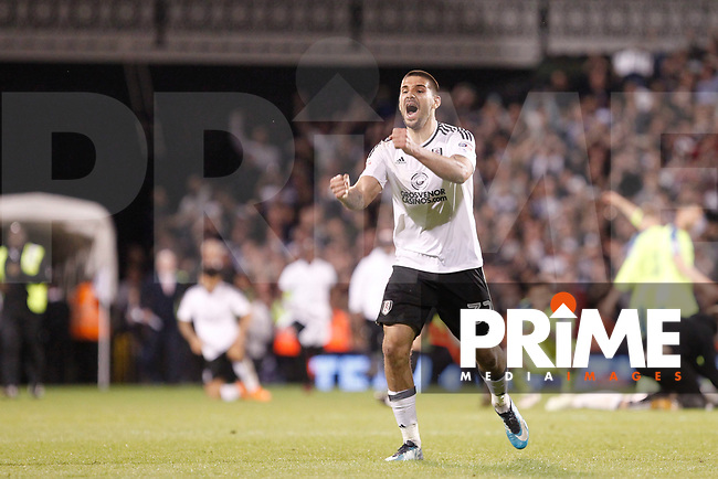 Joy for Aleksander Mitrovic of Fulham at the final whistle during the Sky Bet Championship play off semi final 2nd leg match between Fulham and Derby County at Craven Cottage, London, England on 15 May 2018. Photo by Carlton Myrie / PRiME Media Images.