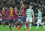 11.12.2013 Barcelona, Spain. UEFA Champions League, Group H Matchday 6. Picture show Cristian Tello   in action during game between FC Barcelona Against Celtic at Camp Nou